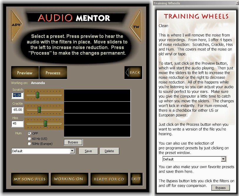 Click to view Audio Mentor Noise Reduction Software 1.4 screenshot
